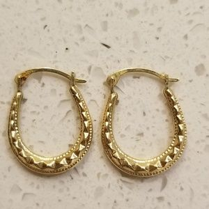 Jewelry - Gold horseshoe earrings with beautiful detail